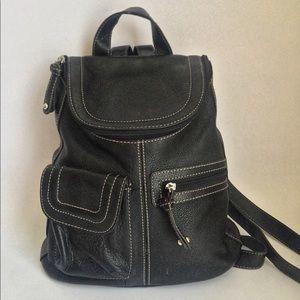 Tignanello Black Leather Mini Backpack Handbag